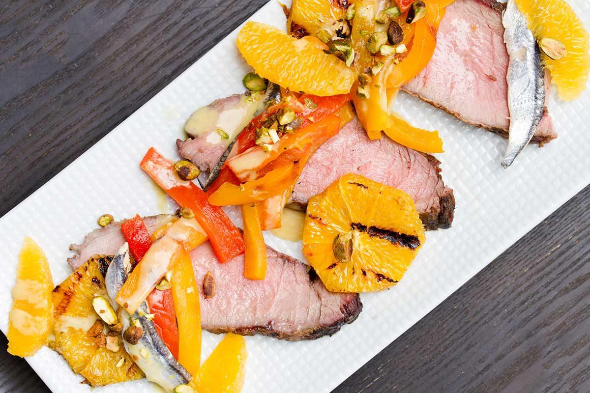 Iberico Pork Shoulder Orange Peppers Boquerones