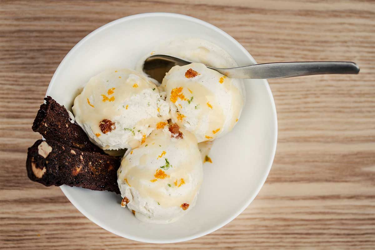 Ice Cream with Panforte Crisps and Orange Caramel Sauce