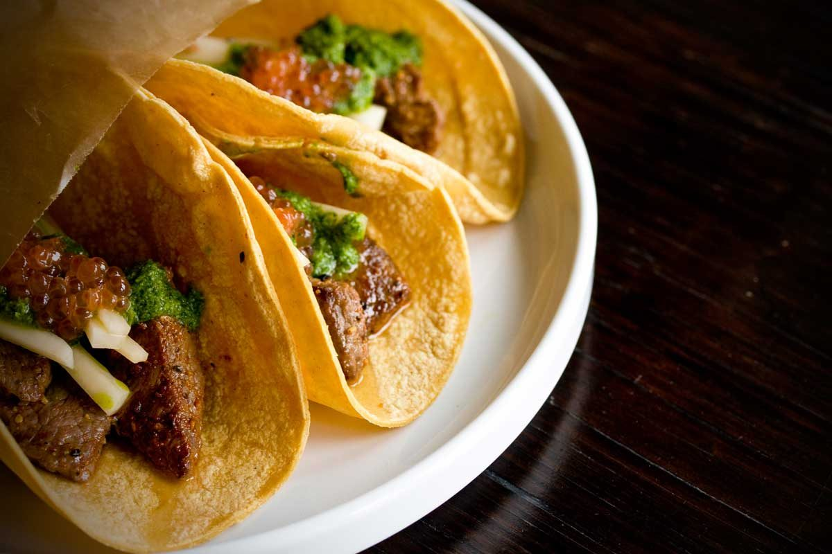 Japan Inspired Beef Tacos with Pickled Daikon Salsa Verde and Ikura