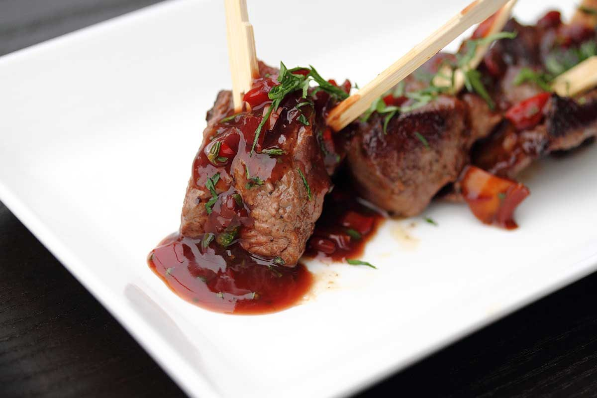 Beef Skewers Wine Demi Sauce