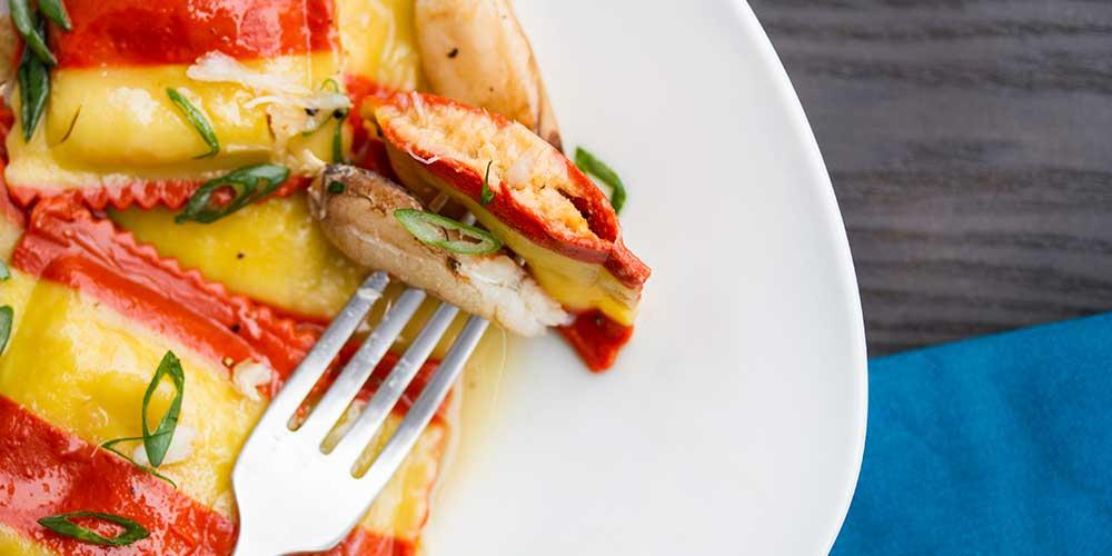 "Lobster & Crab Ravioli w/ Soy ""Caramel"" Sauce"