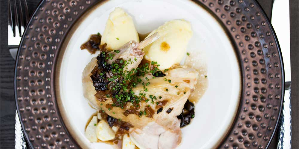 Milk Poached Poulet Rouge w/ Truffle Sauce