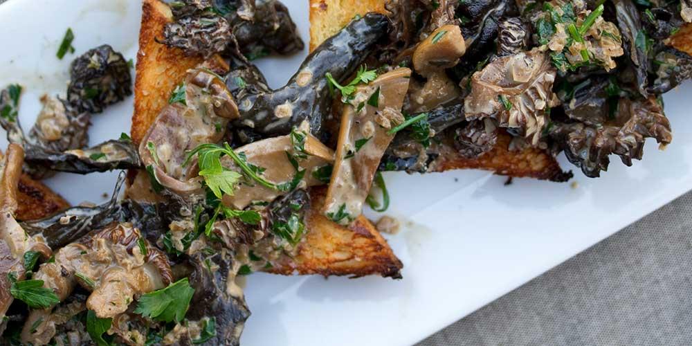Wild Mushrooms on Toast Points