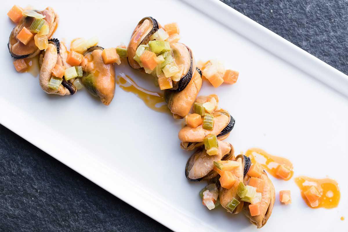 Mussels Escabeche Saffron Mirepoix
