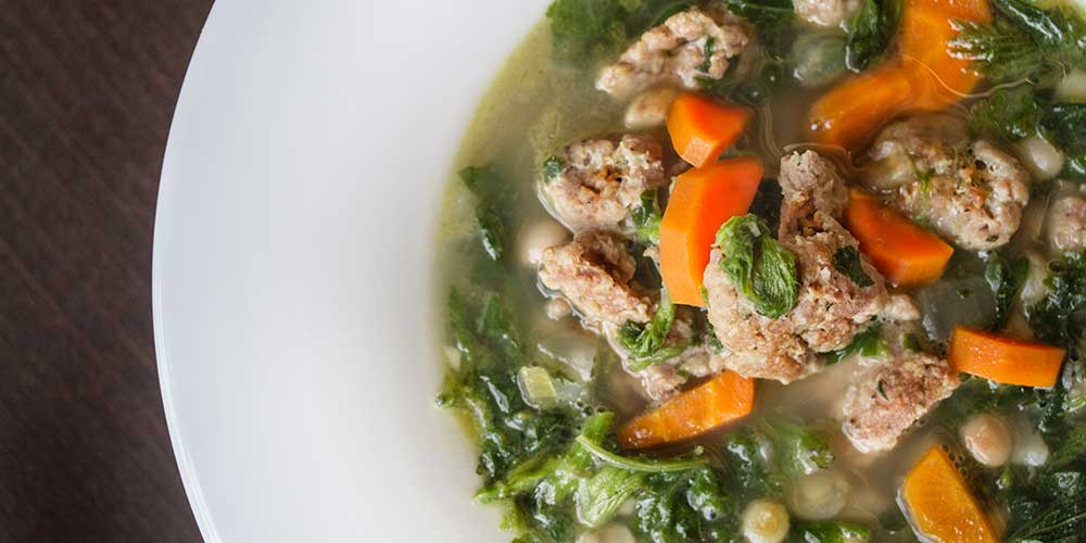 Nettle Sausage White Bean Soup