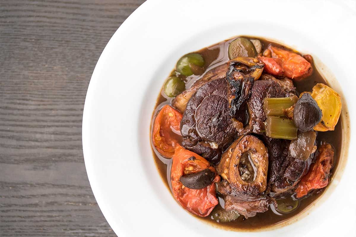 Osso Bucco Olives Tomato Black Garlic