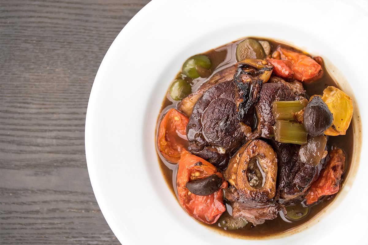 Osso Bucco Olives Tomato Black Garlic