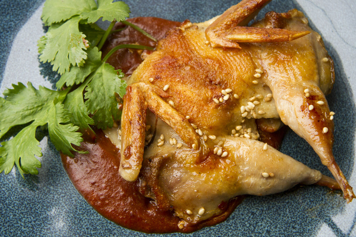 Pan-seared Quail w/ Mole Sauce