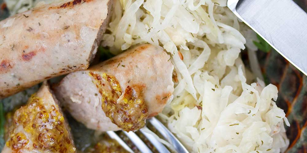 Pheasant Sausages w/ Pear Butter Mostarda