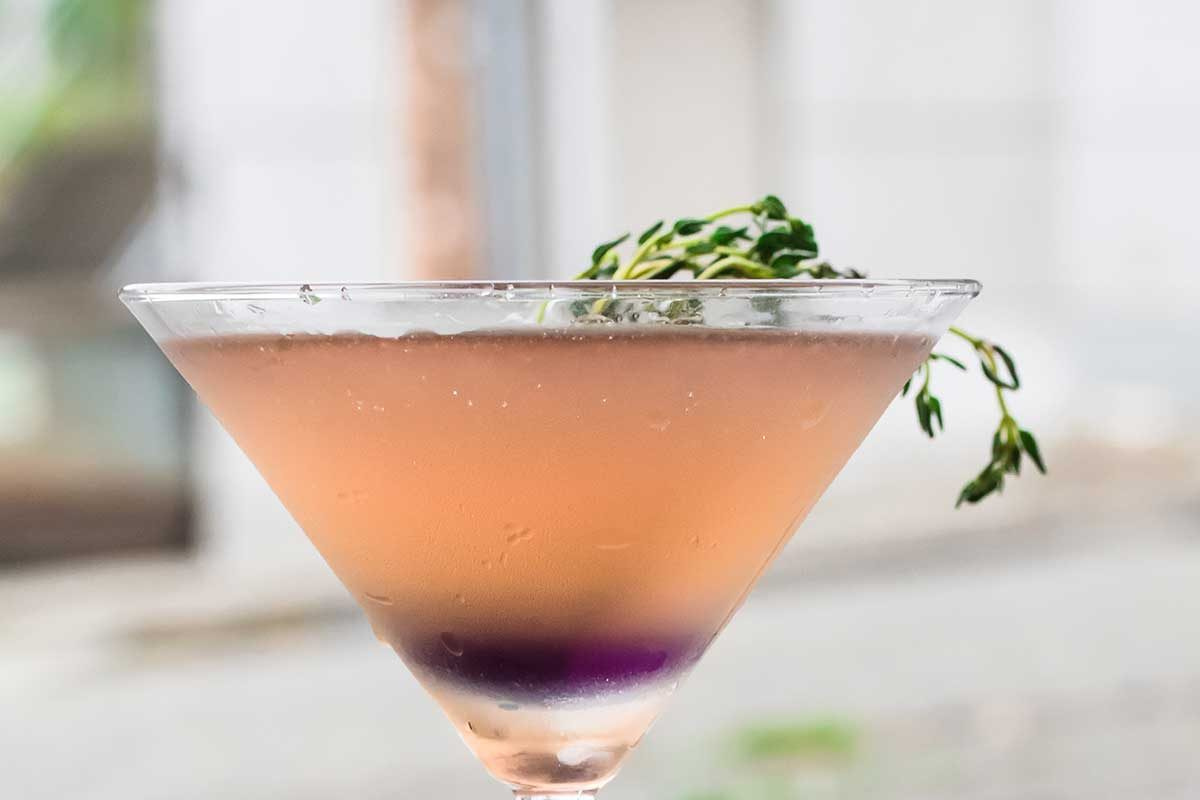 Pomegranate Violet Shrub Cocktail