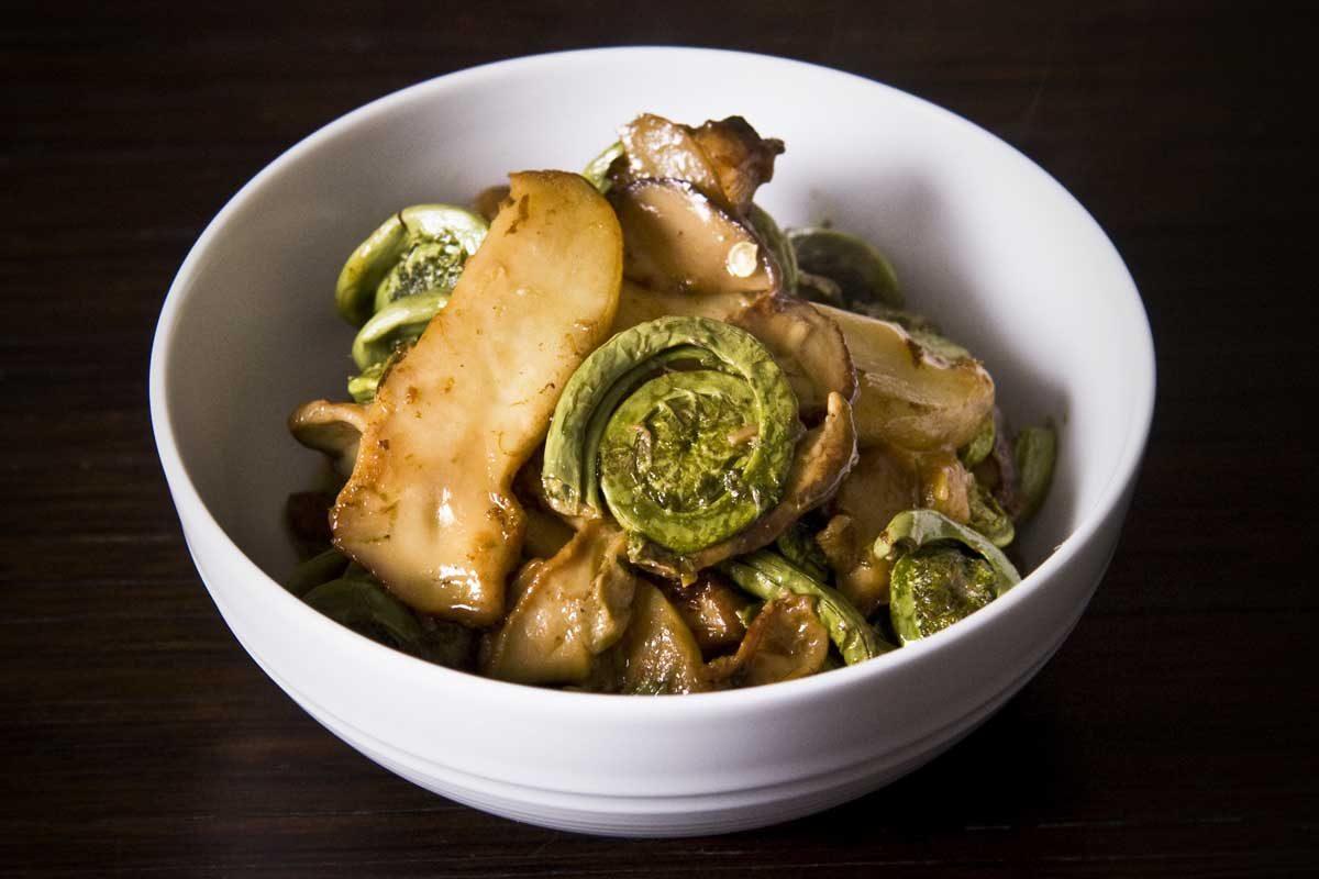Porcinis, Butter & Green Vegetable