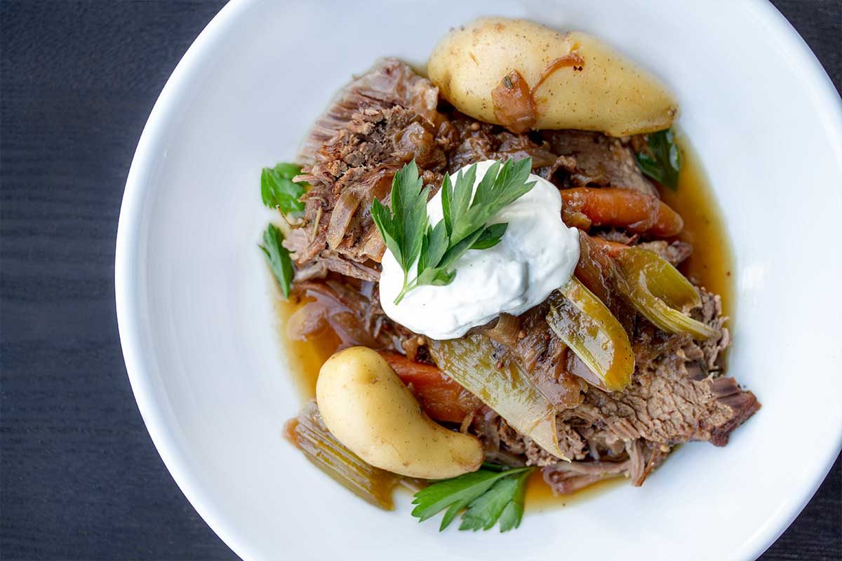 Grass-Fed Pot Roast w/ Horseradish Cream