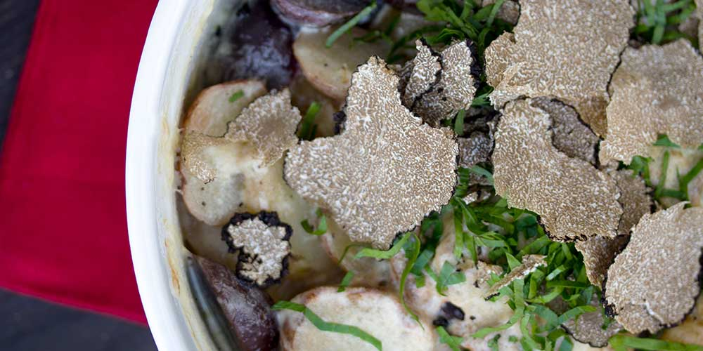 Heirloom Potato Gratin w/ Fresh Black Truffles