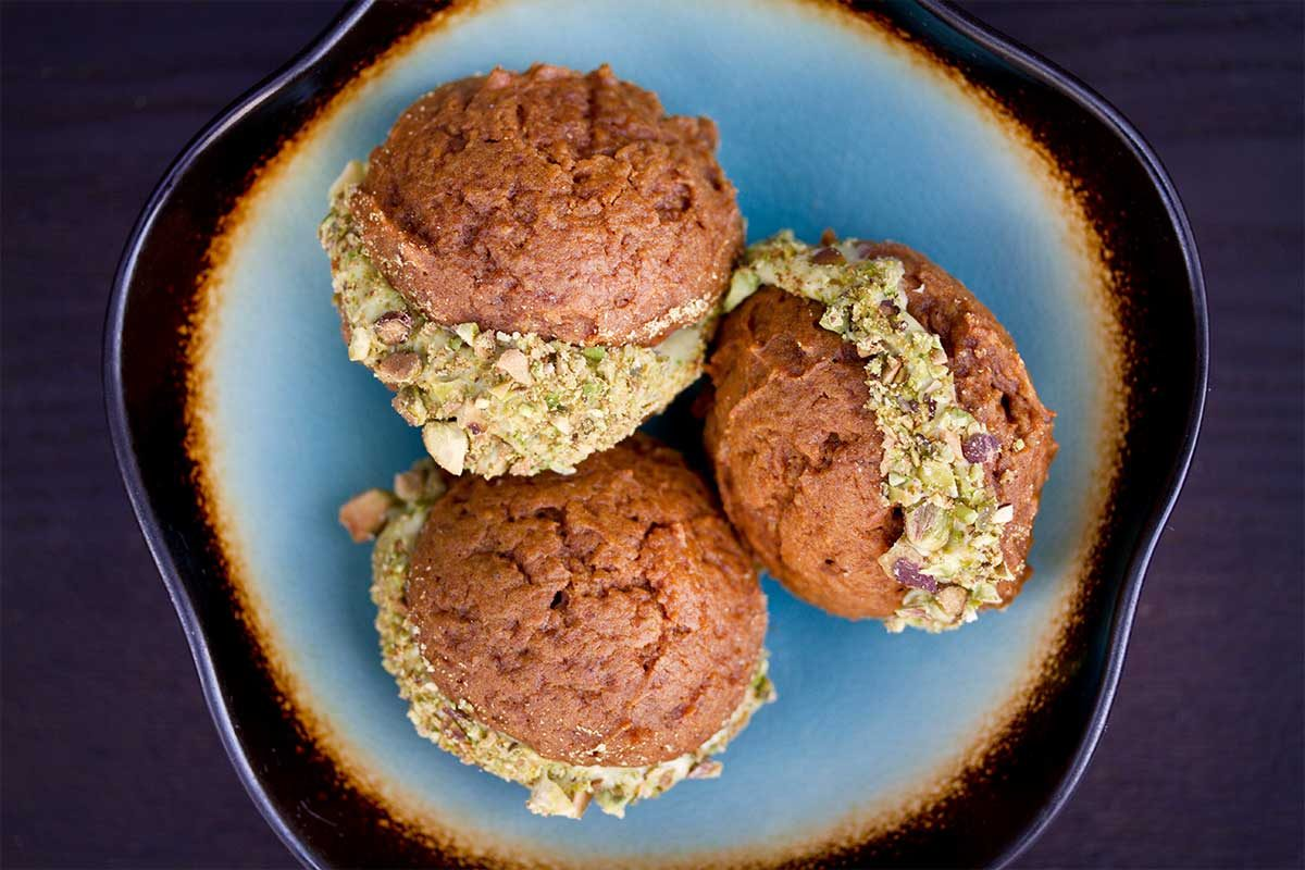 Pumpkin Whoopie Pies with Pistachio Cream