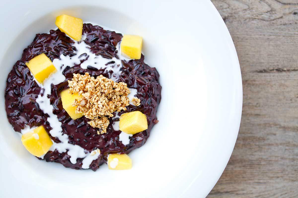 Purple Rice Pudding w/ Mango & Coconut