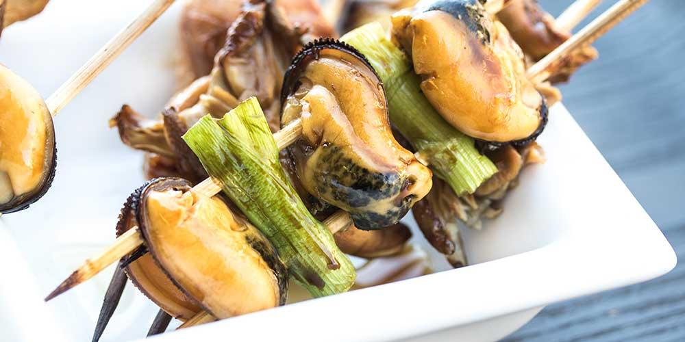 Rabbit, Mushroom & Shellfish Yakitori