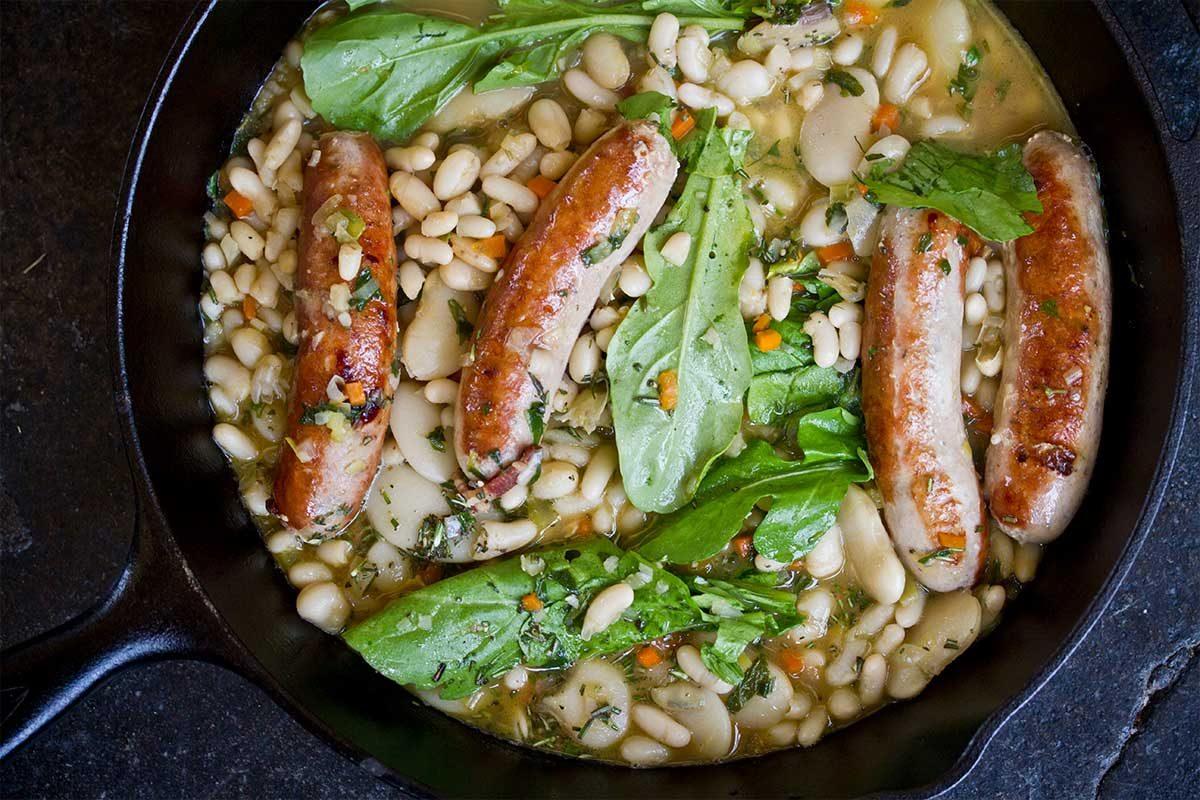 rabbit sausage beans arugula