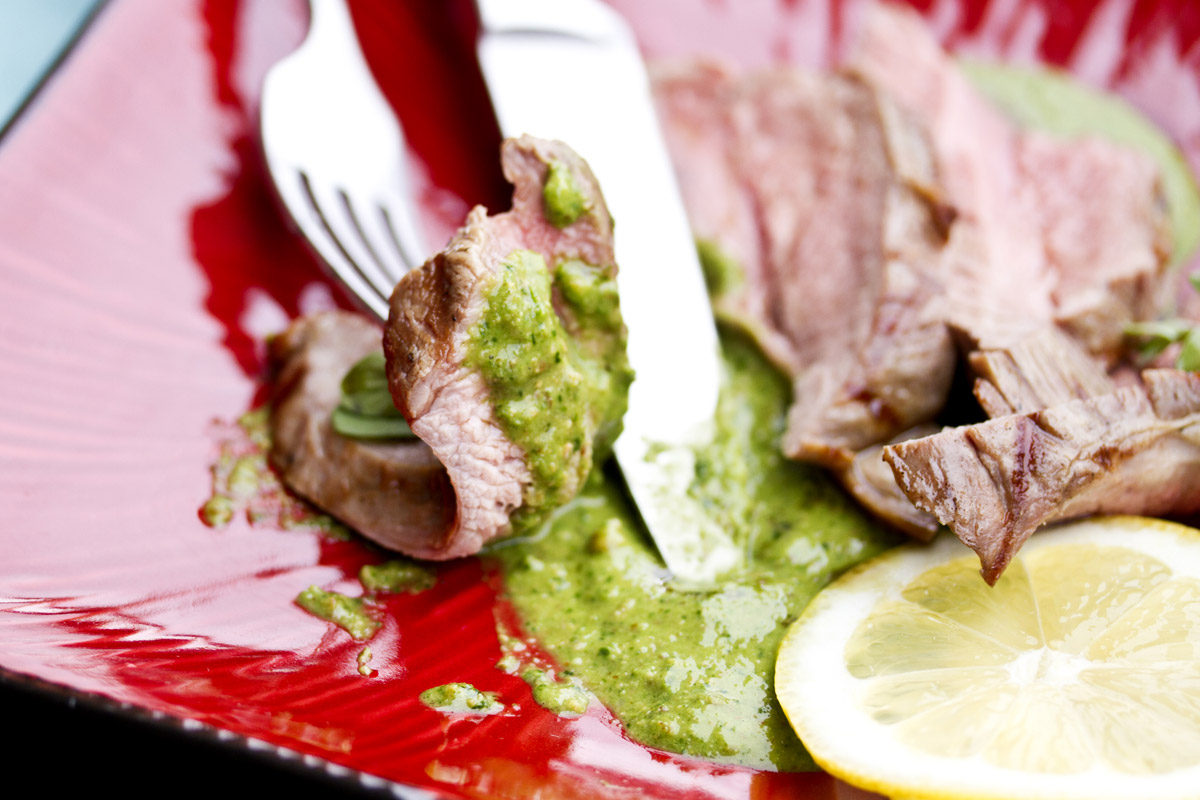 Roasted Merino Leg of Lamb w/ Herb & Almond Pesto