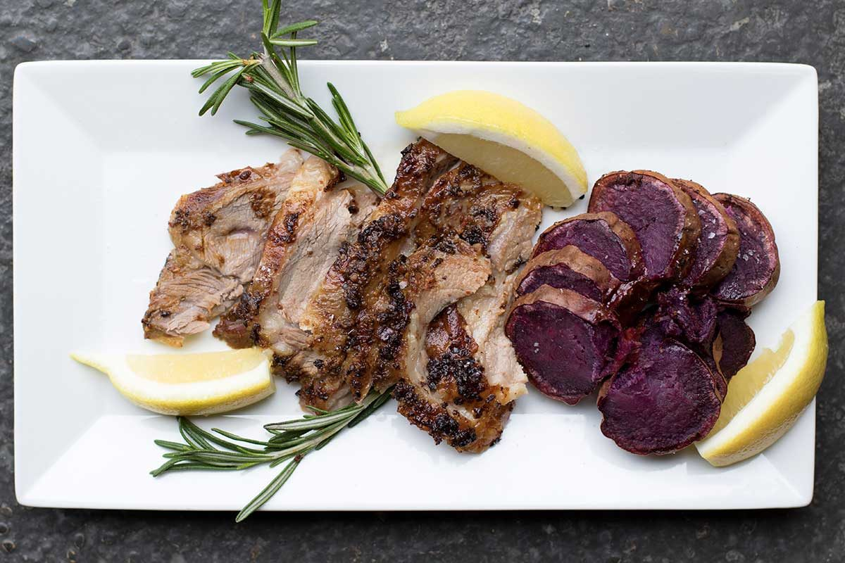 Roasted Merino Lamb Shoulder Purple Sweet Potato
