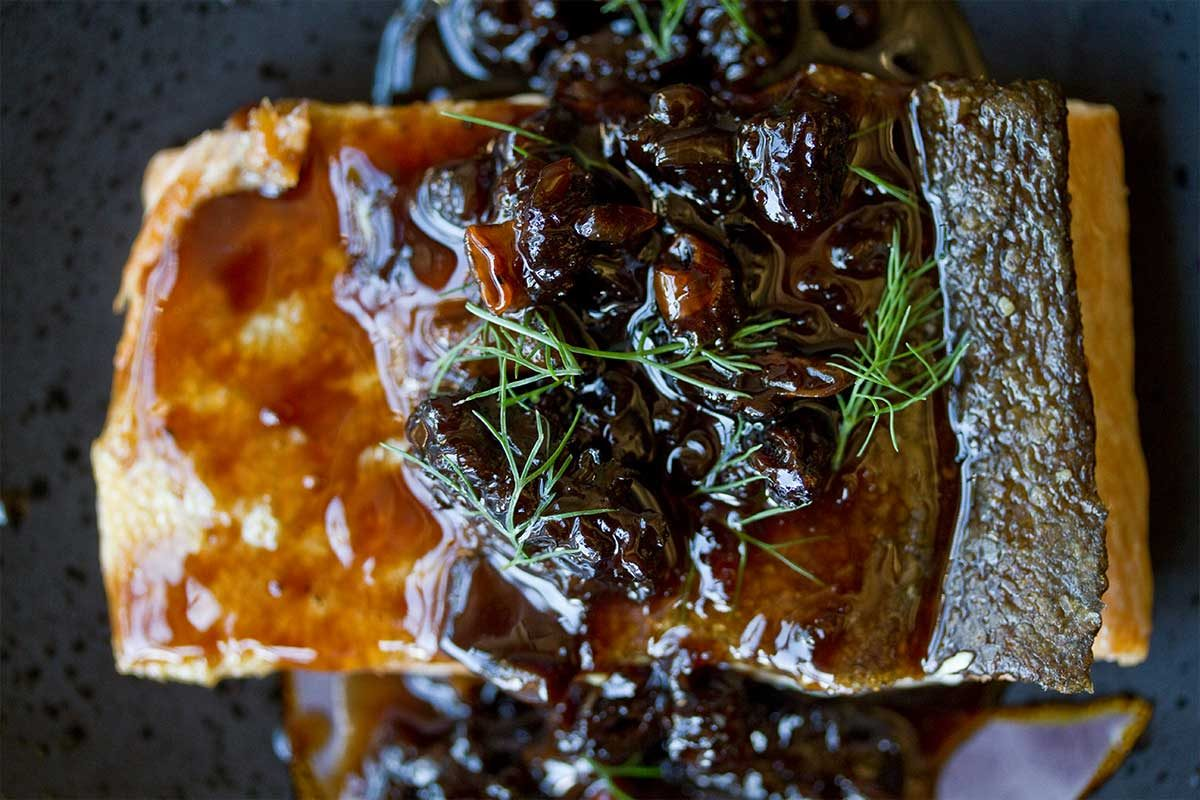 Salmon with Morel Vinaigrette
