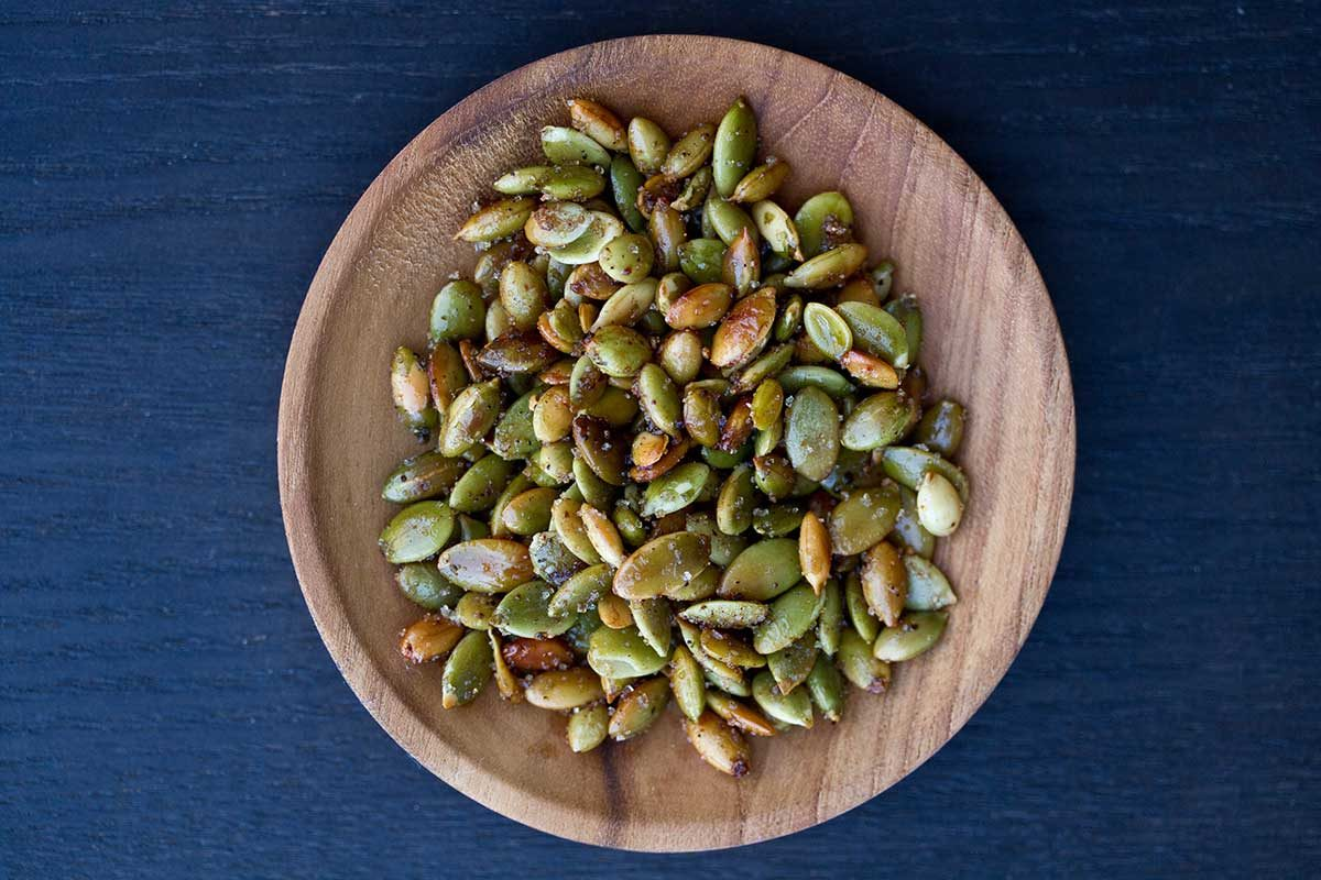 Salty Sweet Toasted Pumpkin Seeds