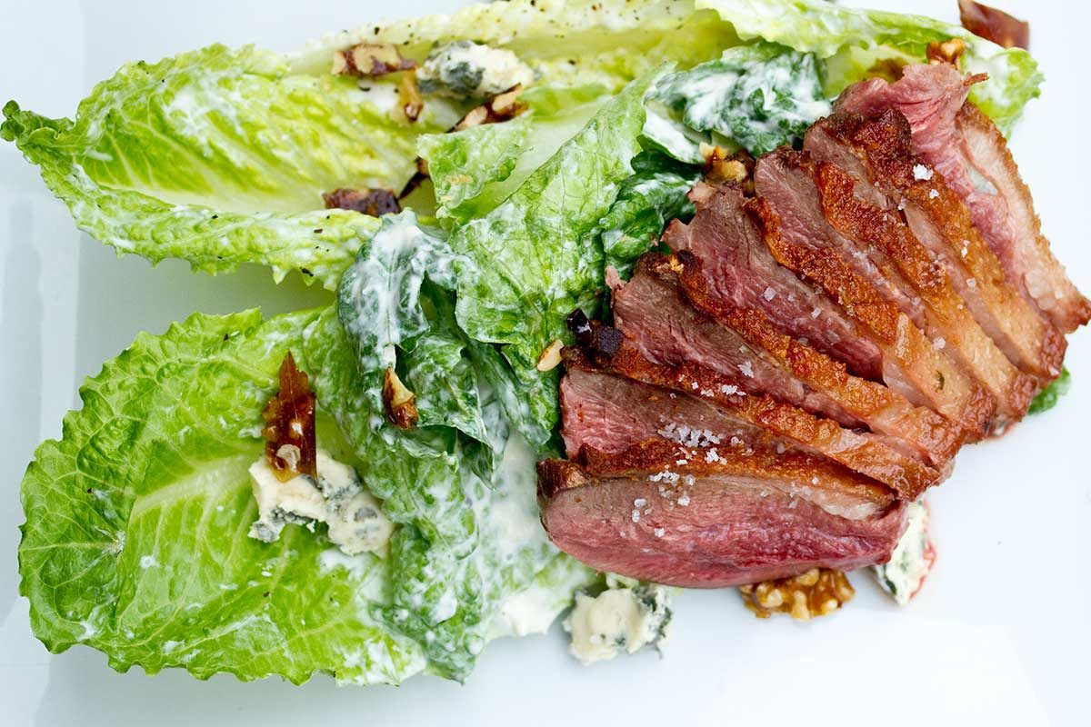 Seared Goose Breast, Apple & Blue Cheese Salad