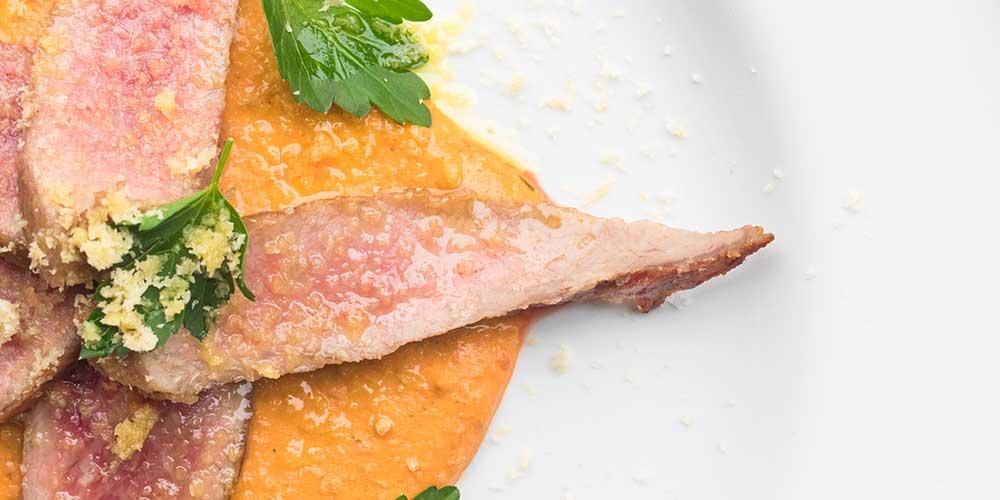 Seared Iberico Pork Secreto with Romesco Sauce