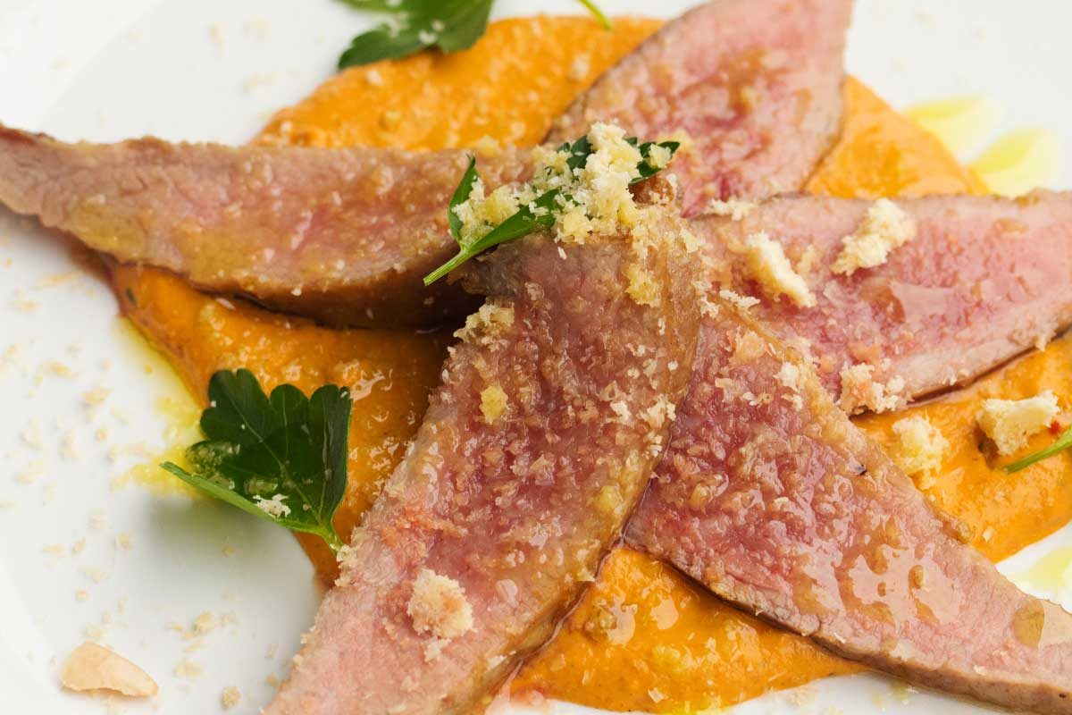 Seared Iberico Secreto w/ Romesco Sauce - Marx Foods Blog