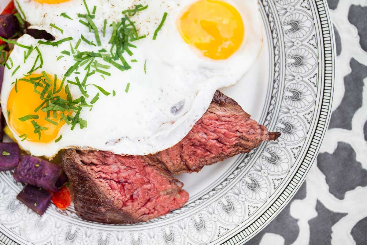 skirt steak eggs sweet potato