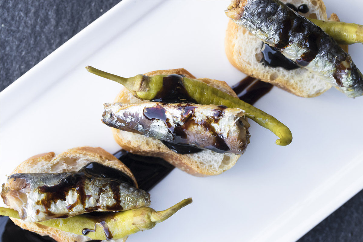 Smoked Sardine Tapas w/ Piparras & Balsamic Reduction