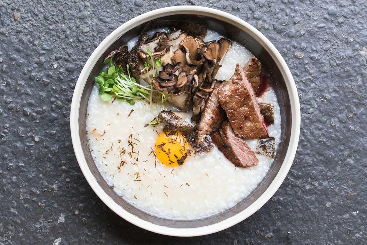Smoked Mushroom Veal Congee
