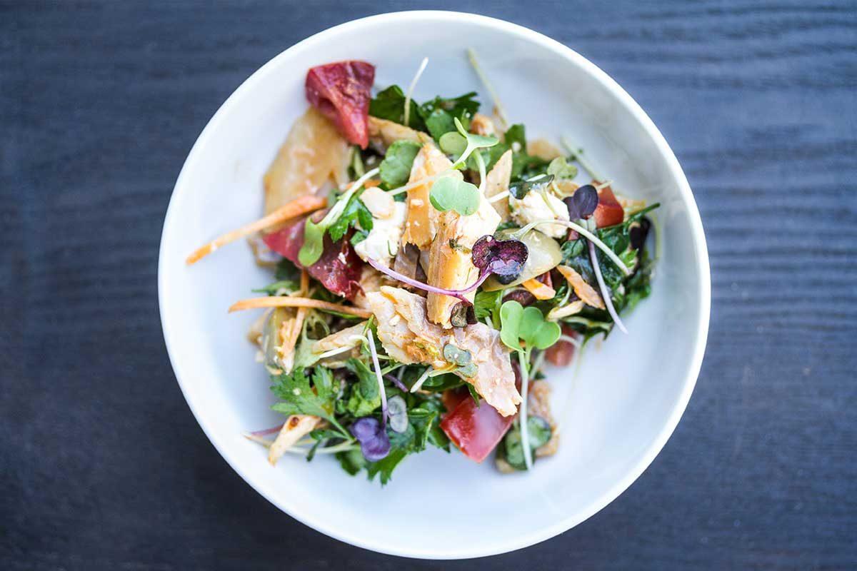 Smoked Trout Salad w/ Pine Nut Paprika Vinaigrette