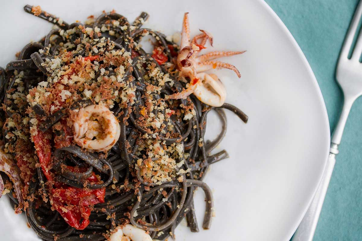 Squid Ink Pasta Tangerines Peppers