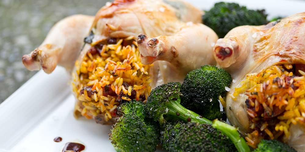 Saffron Rice & Chorizo Stuffed Cornish Game Hens