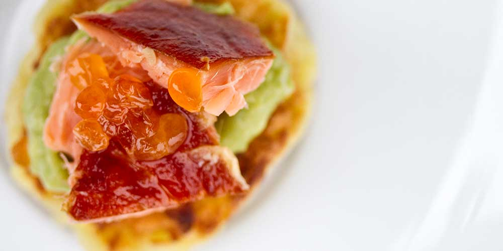 Sweet Potato Cakes w/ Wasabi Avocado Cream & Smoked Fish