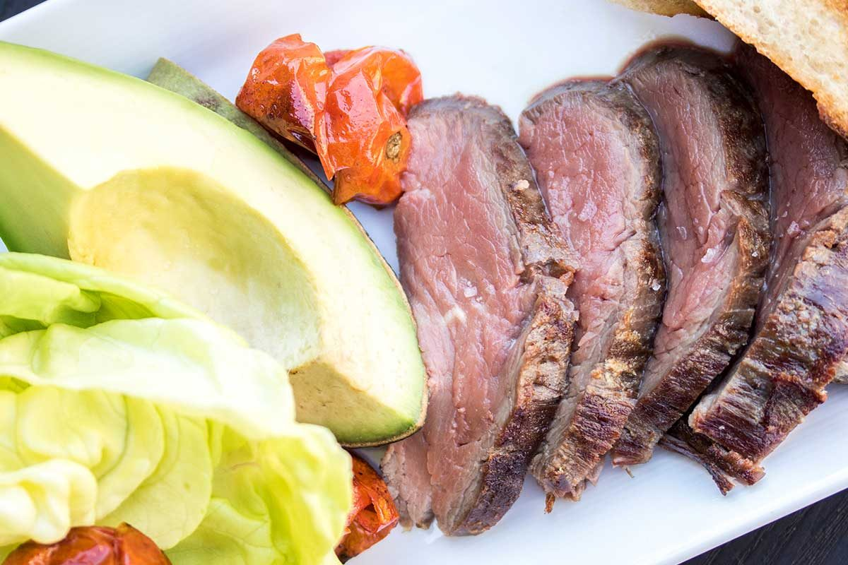 Grass-fed Beef Tenderloin Salad with Charred Tomatoes, Avocado & Bibb Lettuce