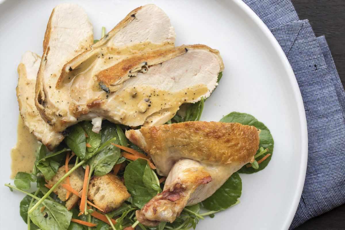 Truffled Roast Chicken Salad with a Warm Truffle Vinaigrette