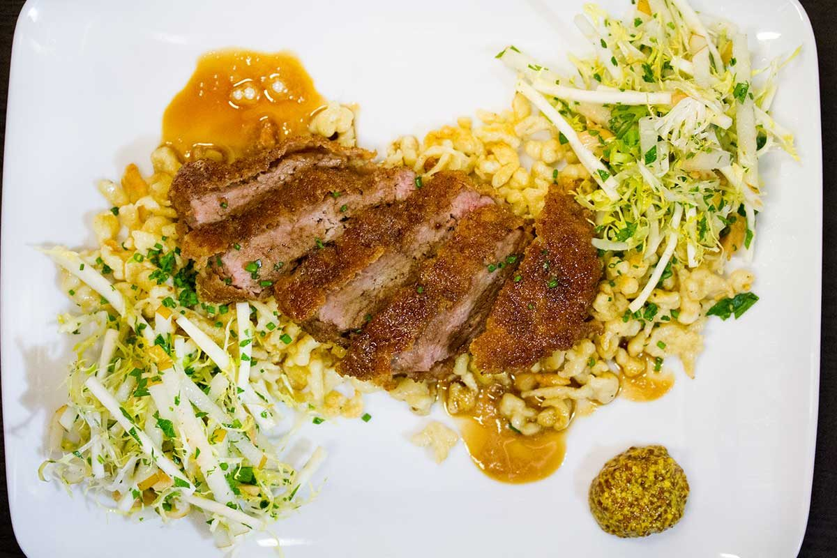 Veal Schnitzel w/ Spaetzel, Asian Pear & Celery Root