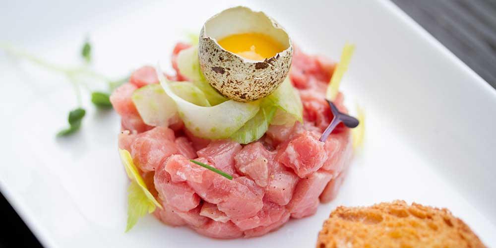 Veal Tartare w/ Cornichon Butter, Quail Egg & Pickled Celery