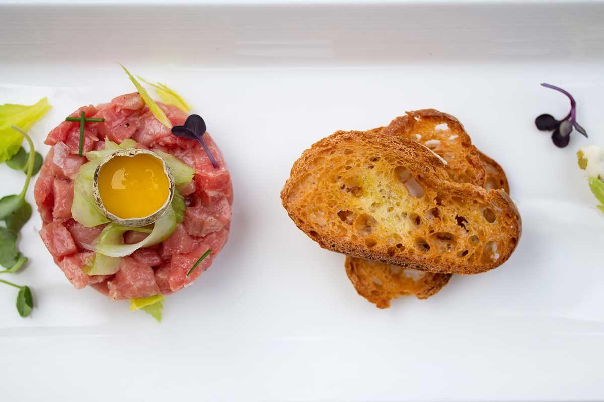 Veal Tartare, Cornichon, Quail Egg & Pickled Celery