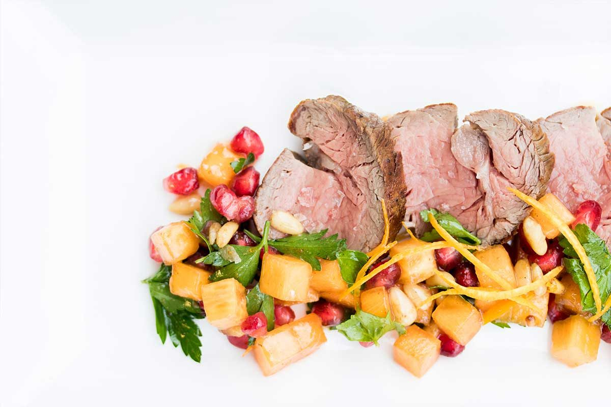 Veal Tenderloin Persimmon Salad