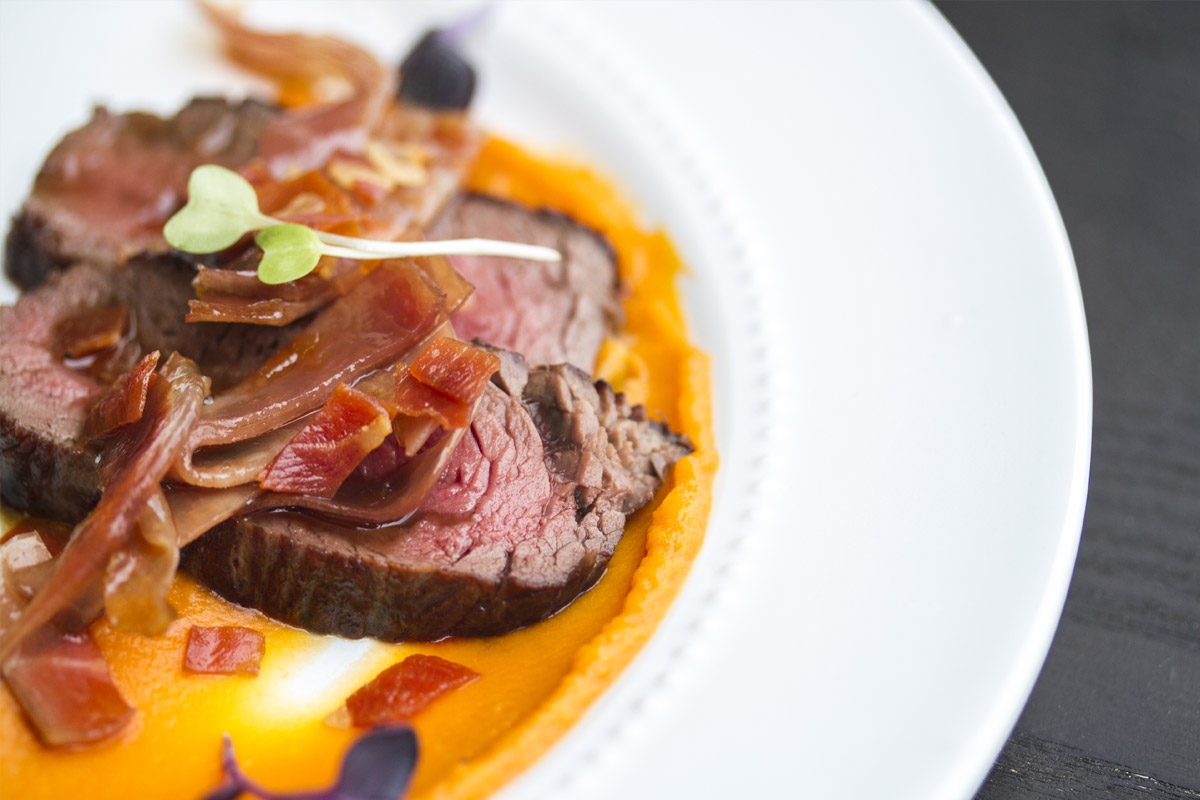 Venison Denver Leg Steak w/ Prosciutto Vinaigrette & Sweet Potato Puree