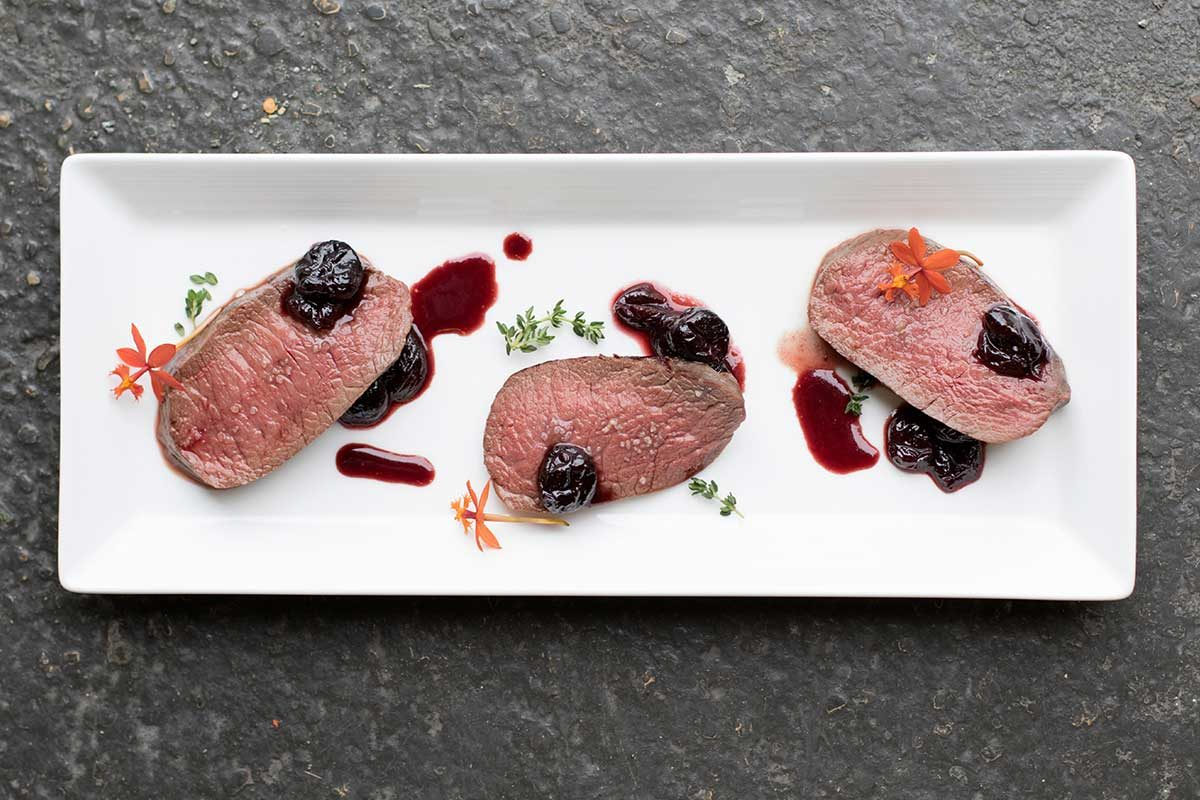 Sous Vide Venison Strip Loin with Cherry Sauce