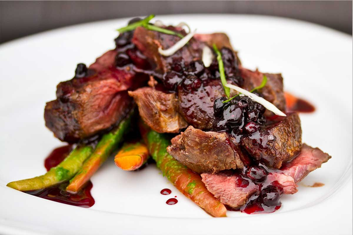 Venison Striploin Huckleberry Gastrique