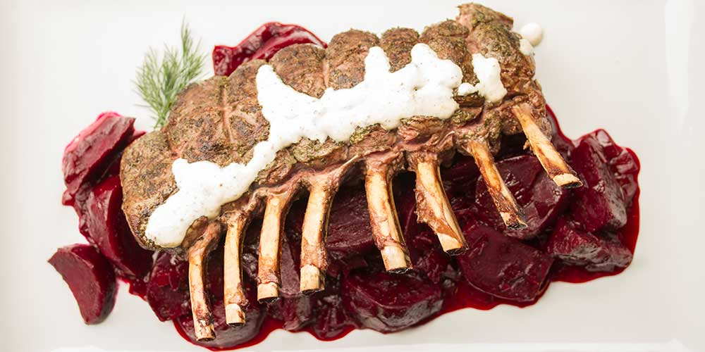 Rack of Venison on Beets w/ Horseradish Crème