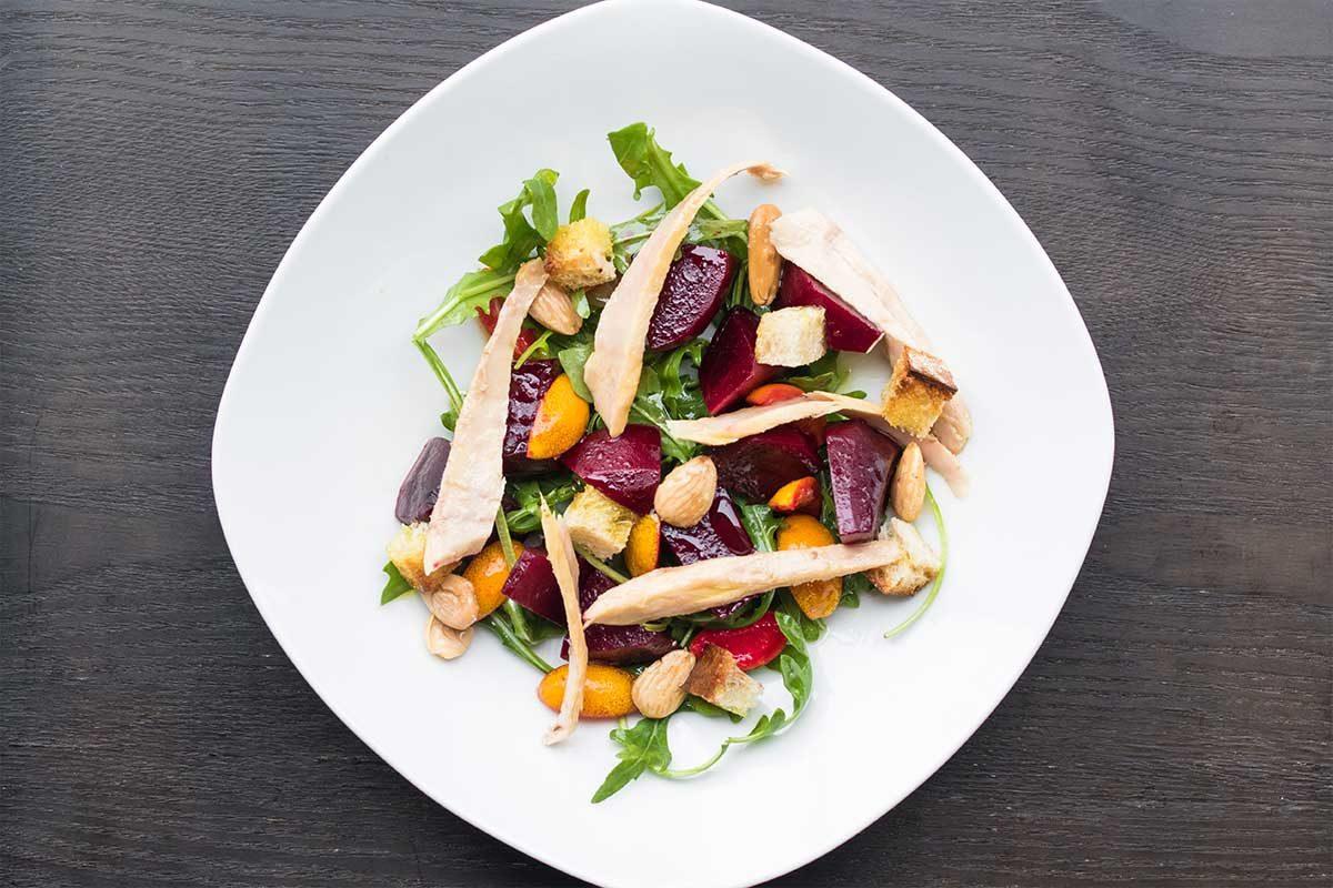 Ventresca Salad Beets Almonds Arugula