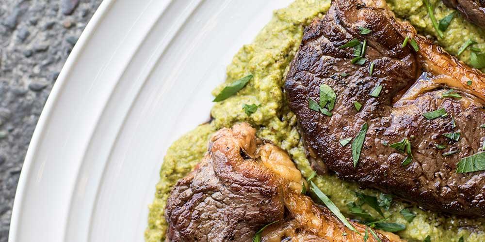 Wagyu Strip Steaks with Hazelnut Green Romesco (aka Greenut Butter)
