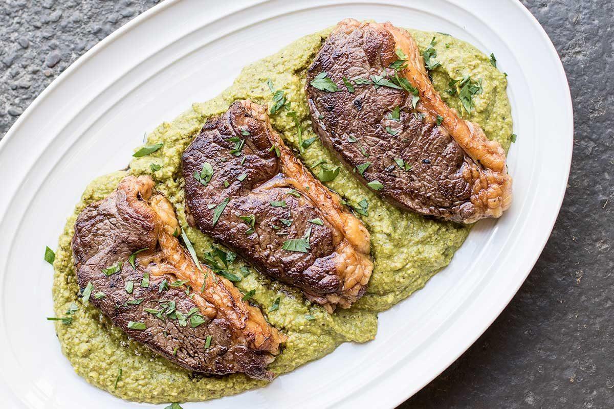 Wagyu Strip Steaks Hazelnut Green Romesco Sauce