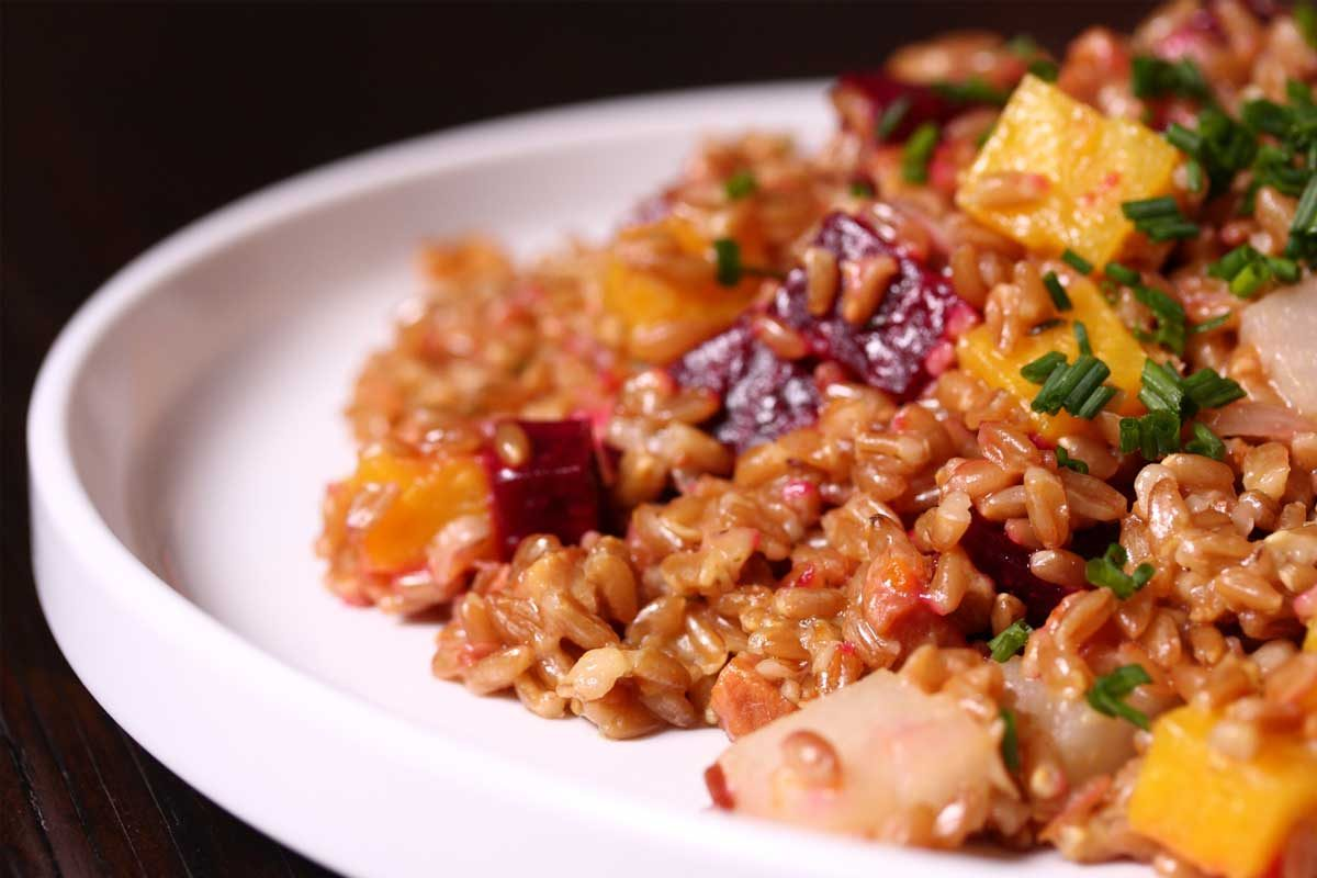Farro Salad with Pancetta and Root Vegetables