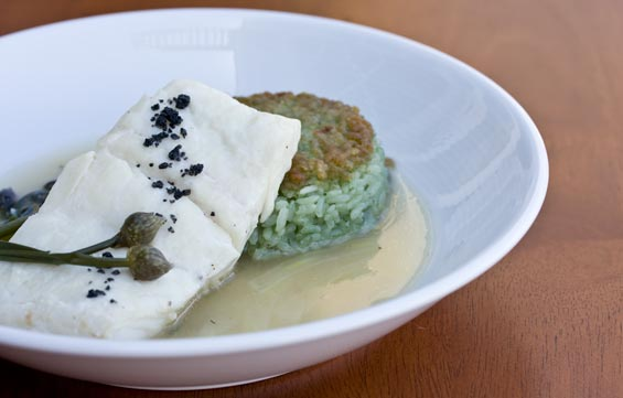 poached-halibut-rice-cake